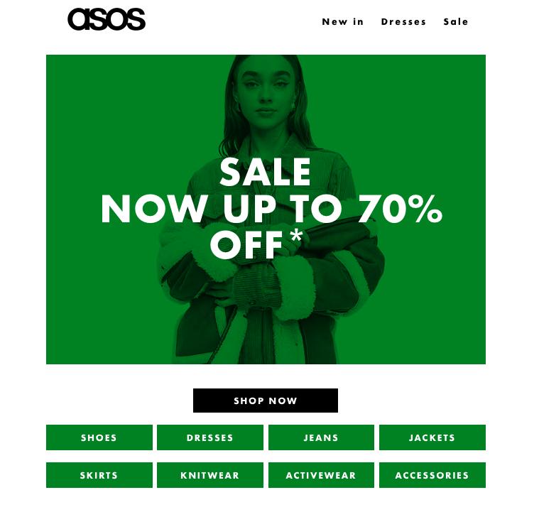 ASOS 電子報視覺呈現,分類標明商品