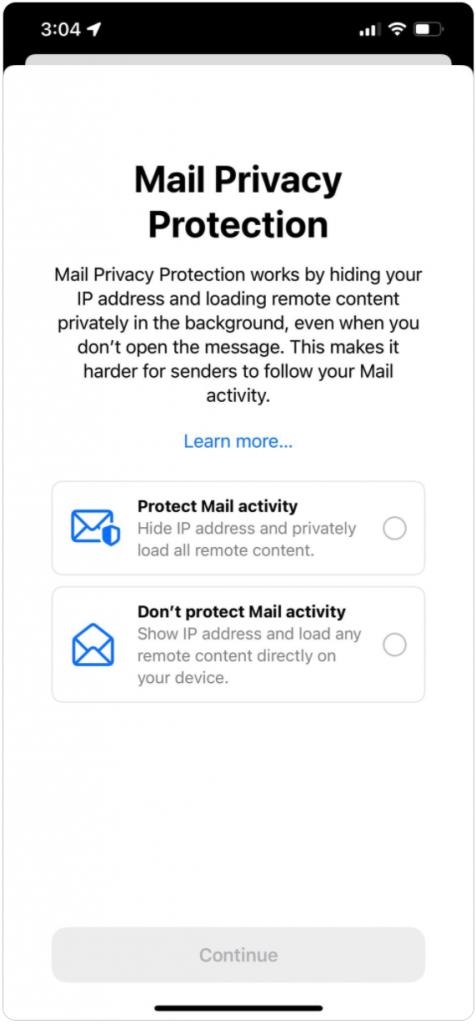 系統預設「保護郵件活動隱私」選項